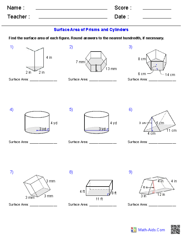Prisms and Cylinders Surface Area Worksheets – Volume of Prism Worksheet