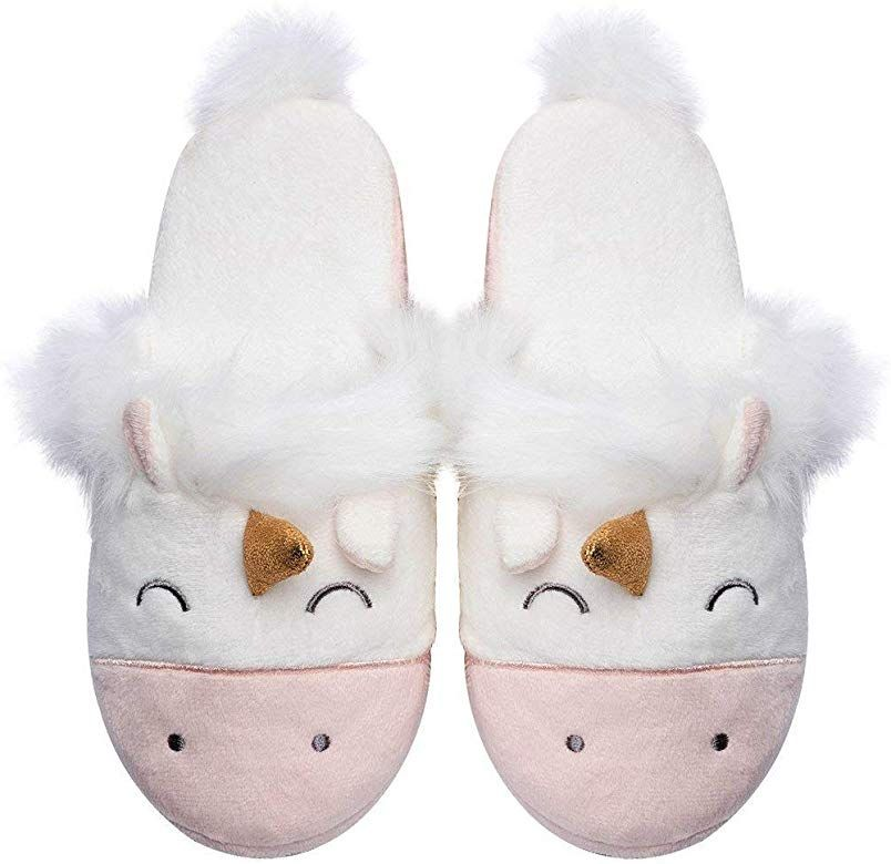 Amazon Com Womens Unicorn House Slippers Cute Animal Slip On House Shoes White Slippers Unicorn Slippers Cute Slippers Animal Slippers