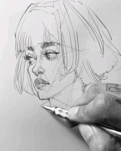 Photo of Крутой скетч видео портрет иллюстрация стильная девушка с каре портрет в карандаше идеи для рисунка