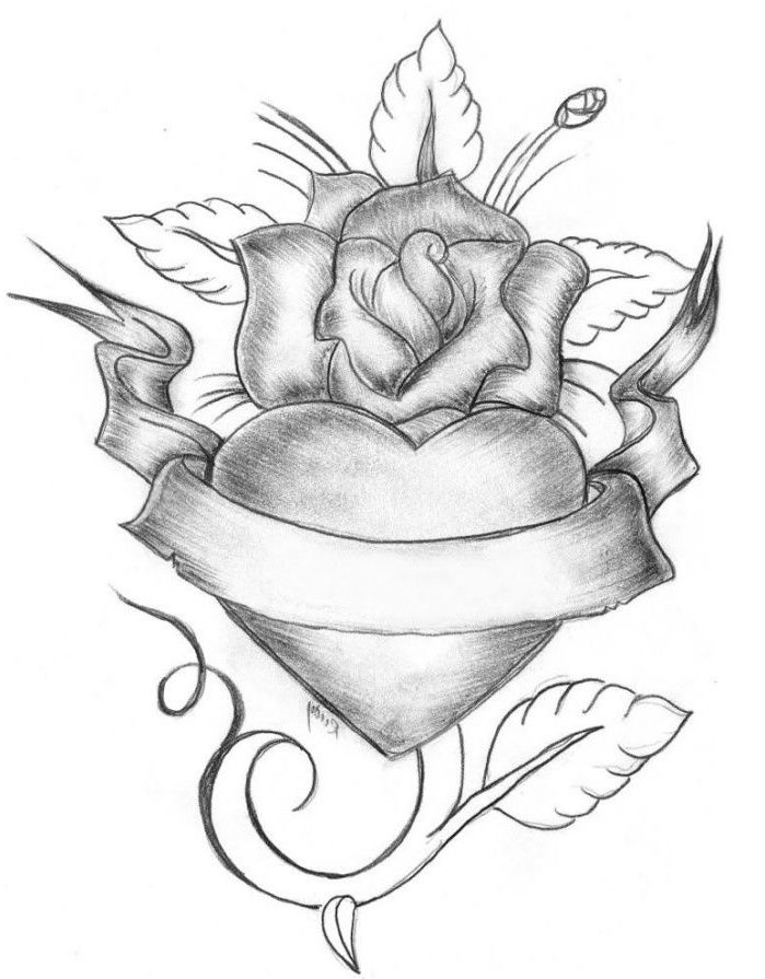 Roses Hearts Drawings : roses, hearts, drawings, Élégant, Dessin, Coeur, Ailes, Photos, Heart, Pencil, Drawing,, Drawing, Pictures