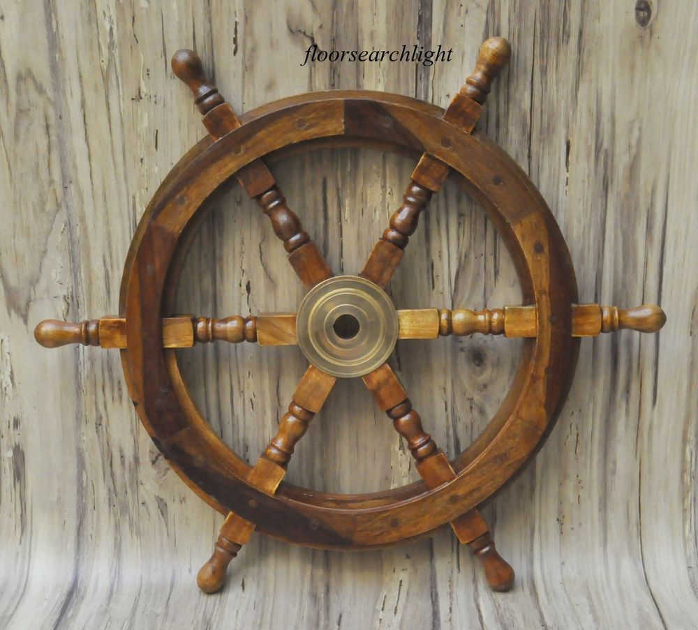 Nautical Decor Wood 24 Nautical Wooden Ship Steering Wheel Pirate Decor Wood Brass Fishing Wall Boat Pirate Decor Ship Wheel Decor