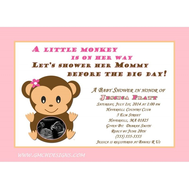 Celebrate the Mom to be with a Monkey Baby Shower Invitation ...