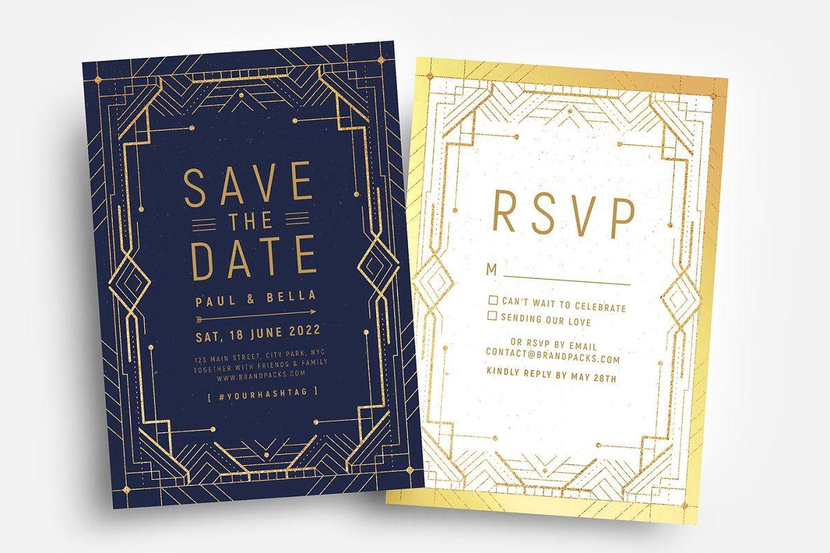 Art Deco Invitations#card #invitation #wedding #cards #cardtemplate #business #design #graphic #businesscards