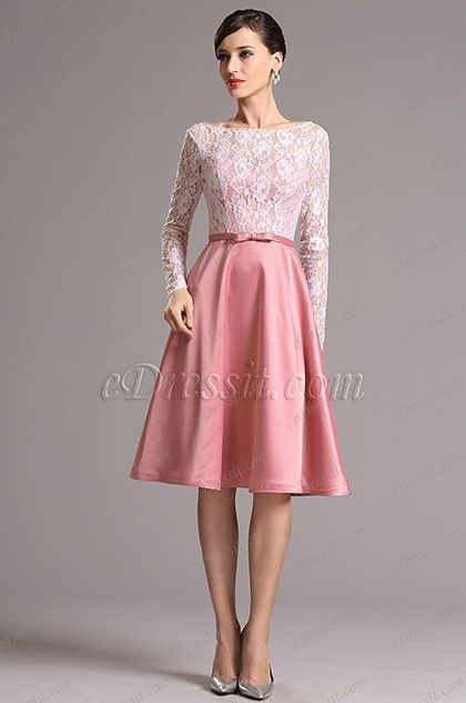 c799fcaef0 Graceful Long Lace Sleeves Party Dress Cocktail Dress (X04151846 ...