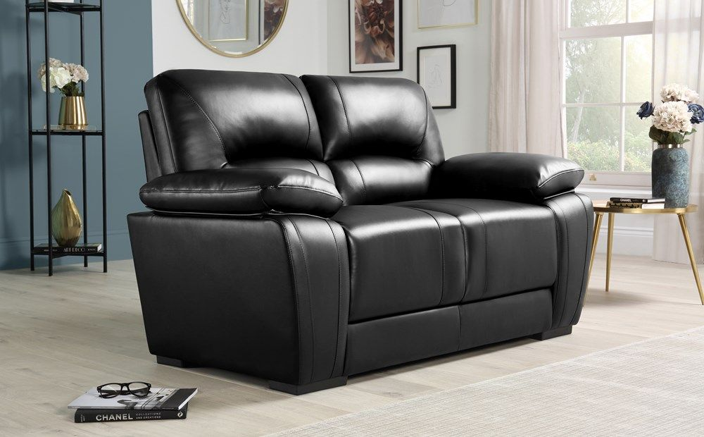 Aubury Black Leather 2 Seater Sofa Furniture Choice Luxury Mattresses Bedroom Furniture Sets