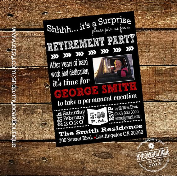 surprise retirement party invitation trucker by myooakboutique