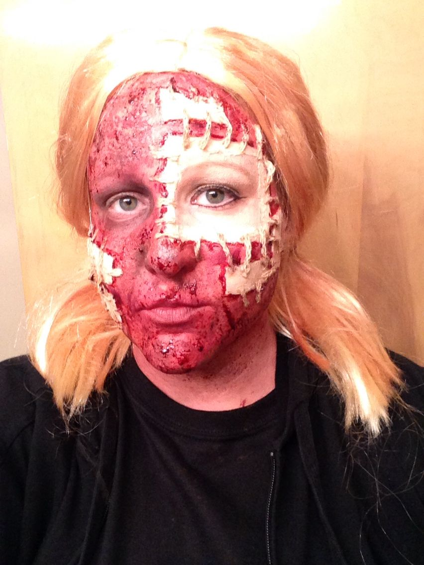 Patch face sfx Halloween costume gore gorey ideas Used bruise ...