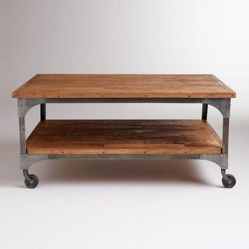 Wood And Metal Aiden End Table: Aiden Coffee Table - We Could Add An Upholstered Top