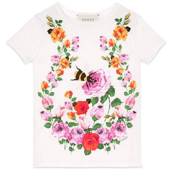 db3374cf8 Gucci Children'S Flowers And Bees T-Shirt ($110) ❤ liked on Polyvore  featuring tops, t-shirts, children, clothing 4-12 yrs, girls, short sleeve  tee, ...