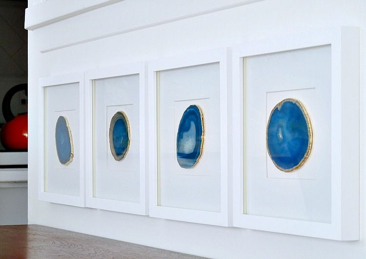 Diy Agate Art Framed Blue Agate Slices Old Picture Frames