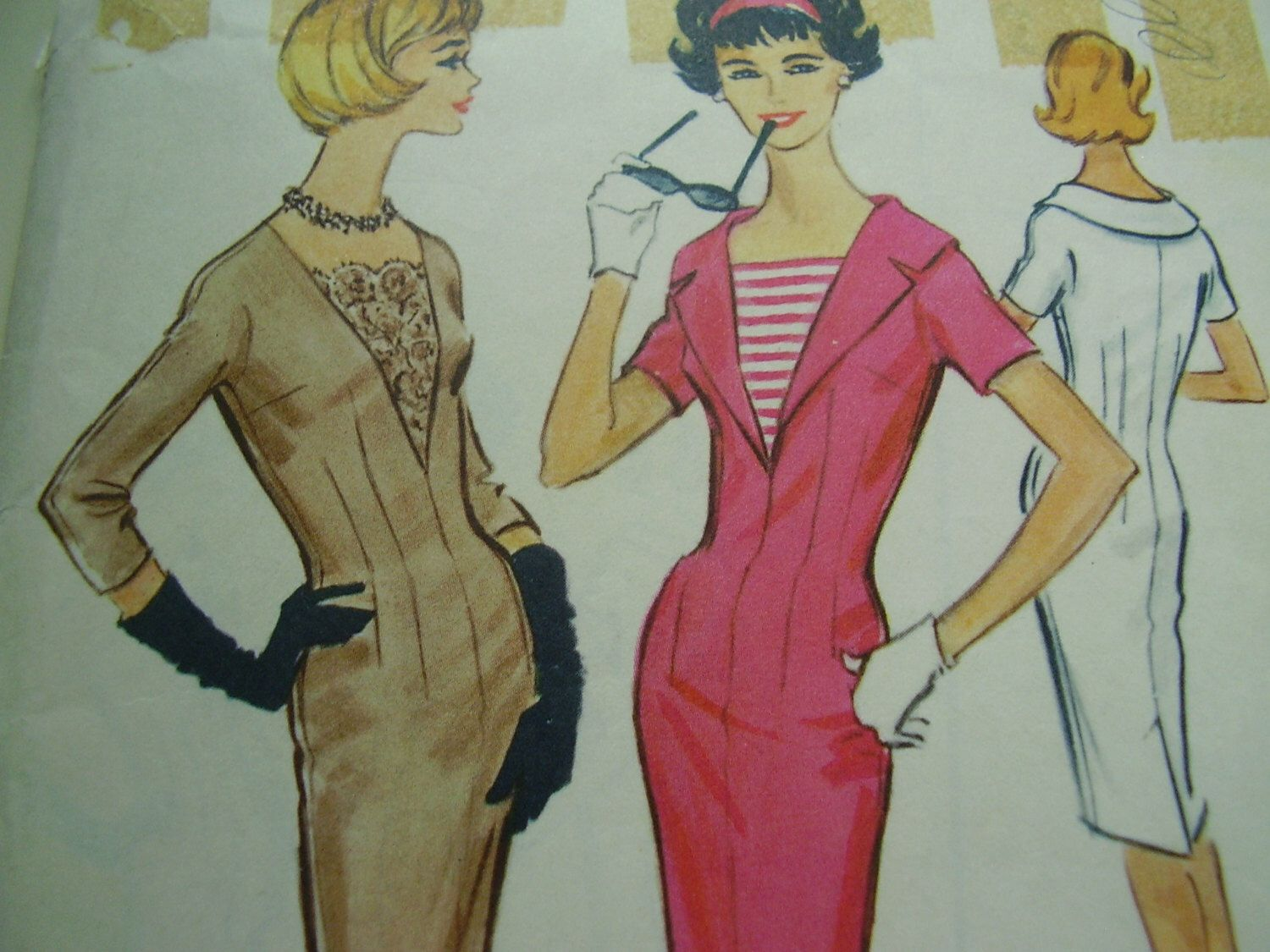 Green dress short in front long in back  Vintage us McCallus  Dress Sewing Pattern Size  Bust
