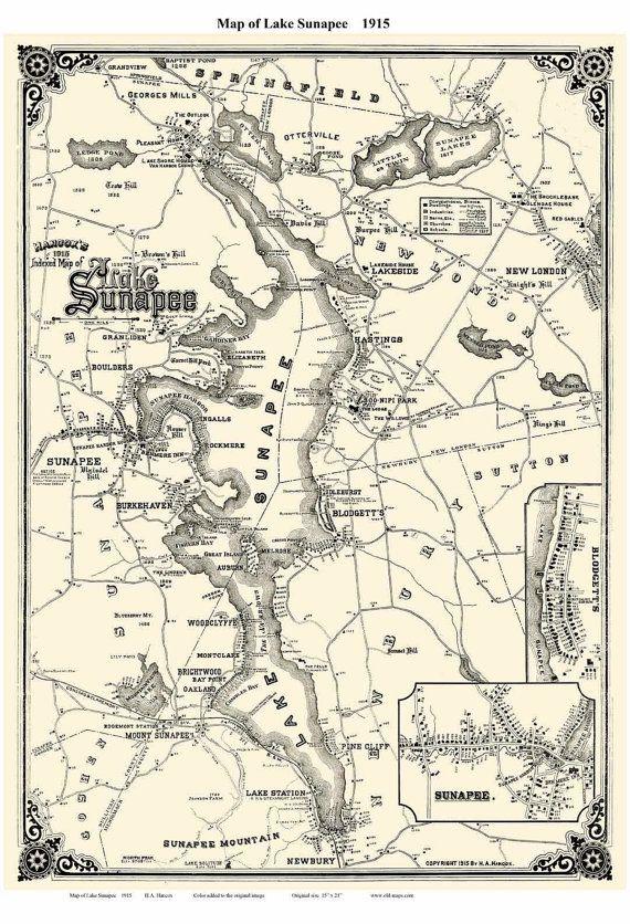 map of lake winnisquam nh Lake Sunapee Nh 1915 Map House Sites By Hancox Reprint New map of lake winnisquam nh