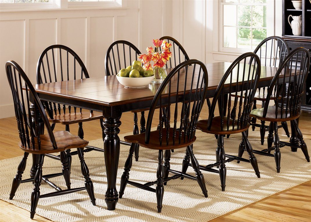 Thinking Of Black Windsor Chairs To Go With My Espresso Farm Table - Black farmhouse table and chairs