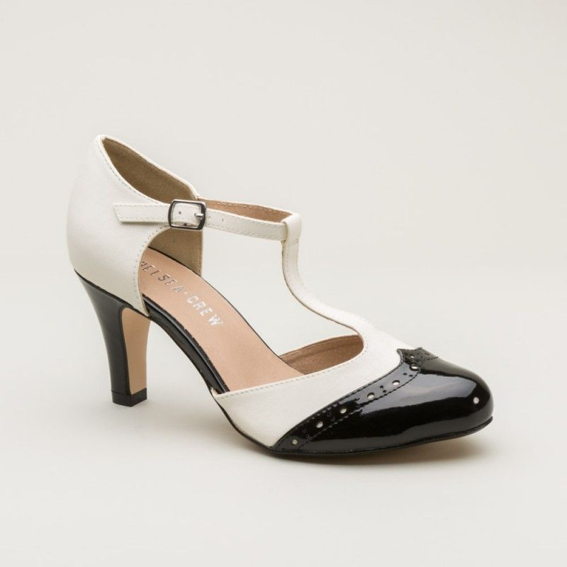c3964f44e5ff7d Gatsby Two-Tone T-strap 1920s Shoes by Chelsea Crew (Black White ...