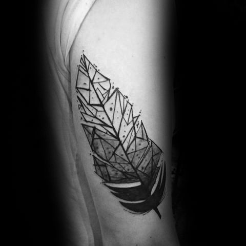 6d8016dcc3b20 30 Geometric Feather Tattoo Designs For Men - Shaped Ink Ideas ...