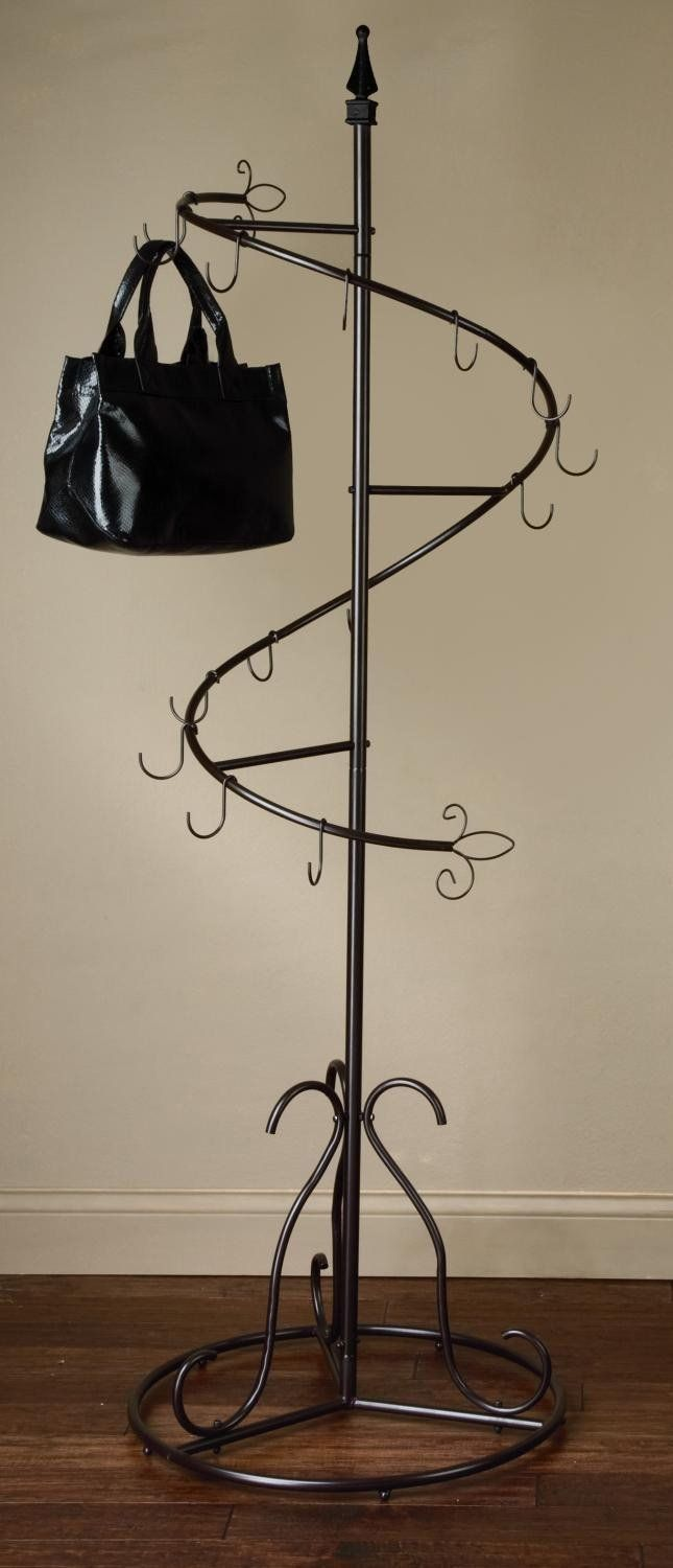 Spiral purse tree retail display rack stand hanging for Percheros para bolsos