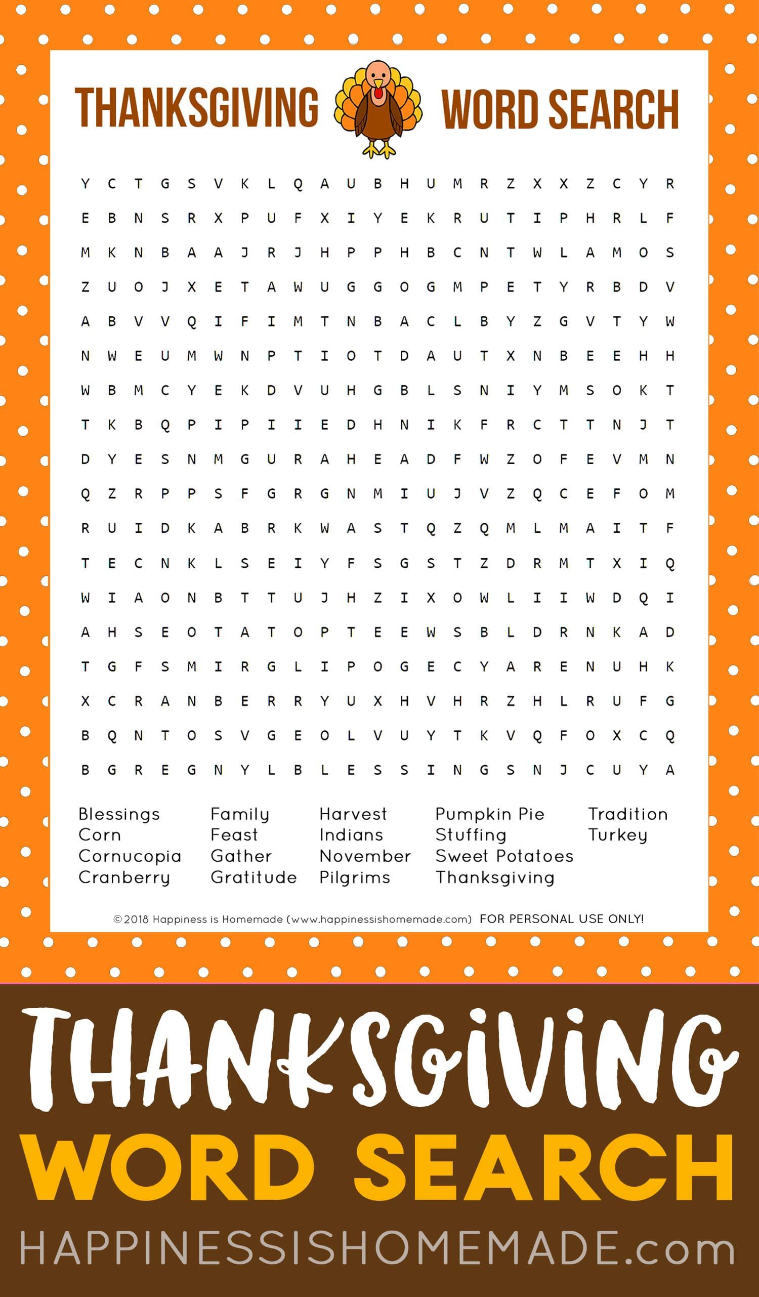 Free Thanksgiving Word Search Printable Game This