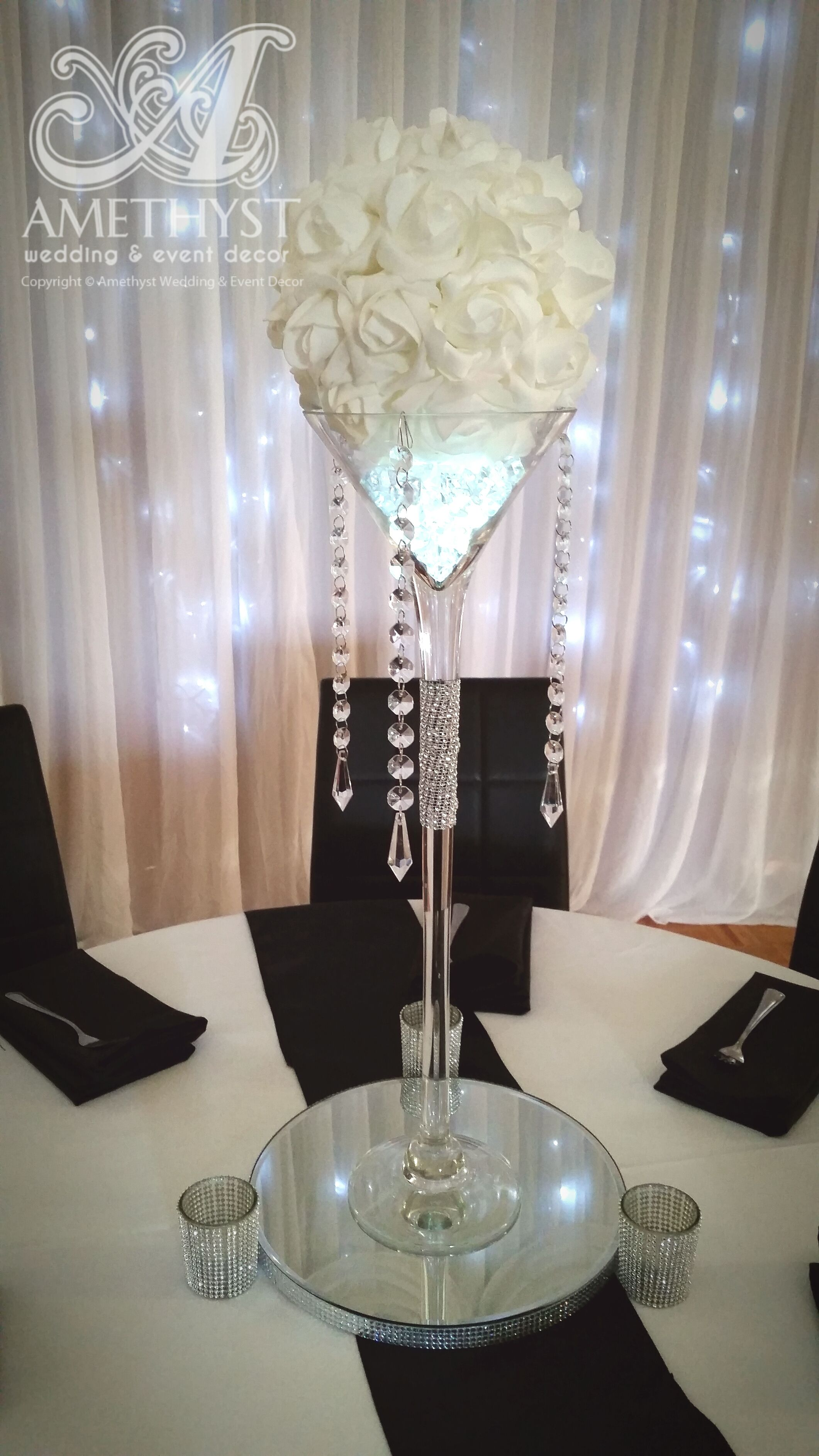 Wedding centerpiece package cm tall narrow martini