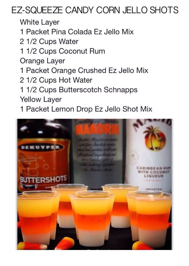 EZ Squeeze Halloween Candy Corn Shot Mix and 100 Cups with lids Holiday Package