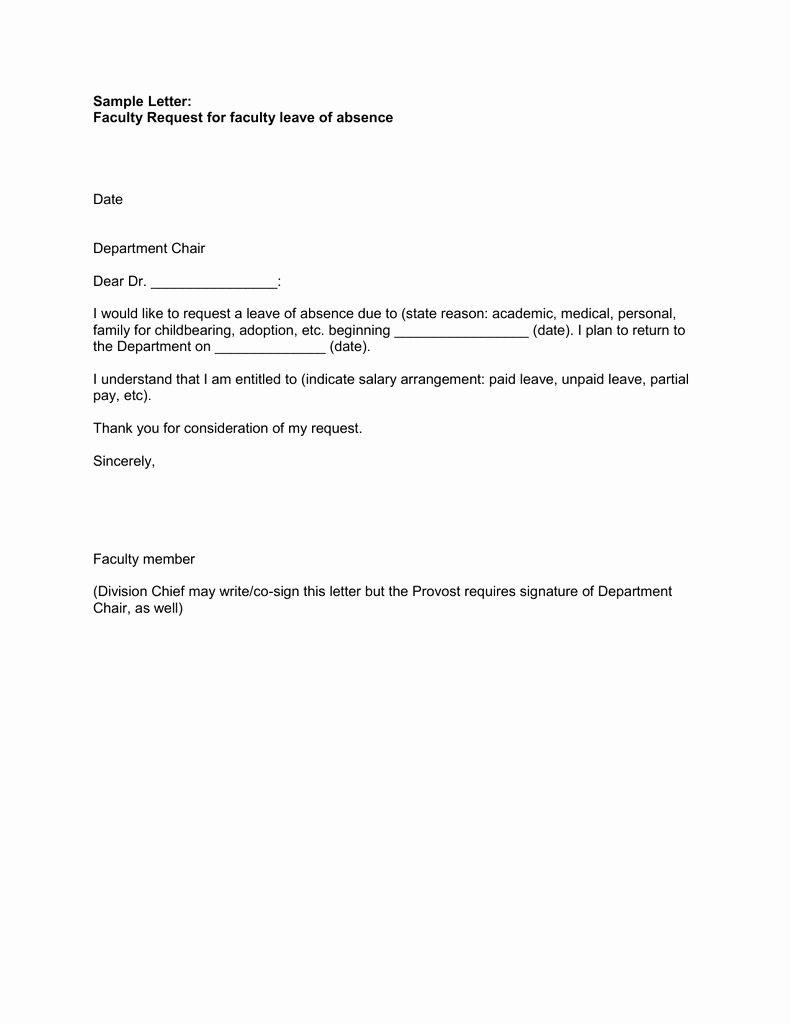 Leave Of Absence Letter For Personal Reasons Beautiful Sample Letter Faculty Request For Faculty Leave Of Lettering Person Letter Example