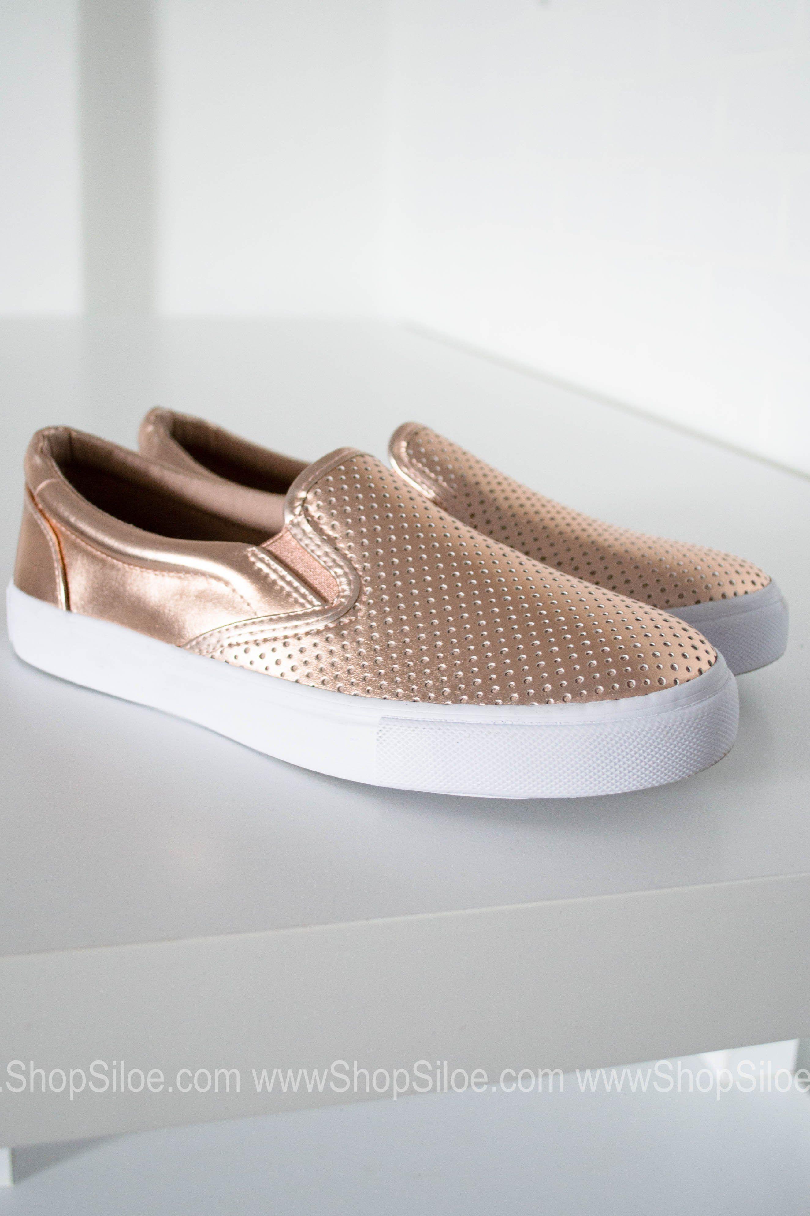 Rose Gold Metallic Slip On Shoes | Slip