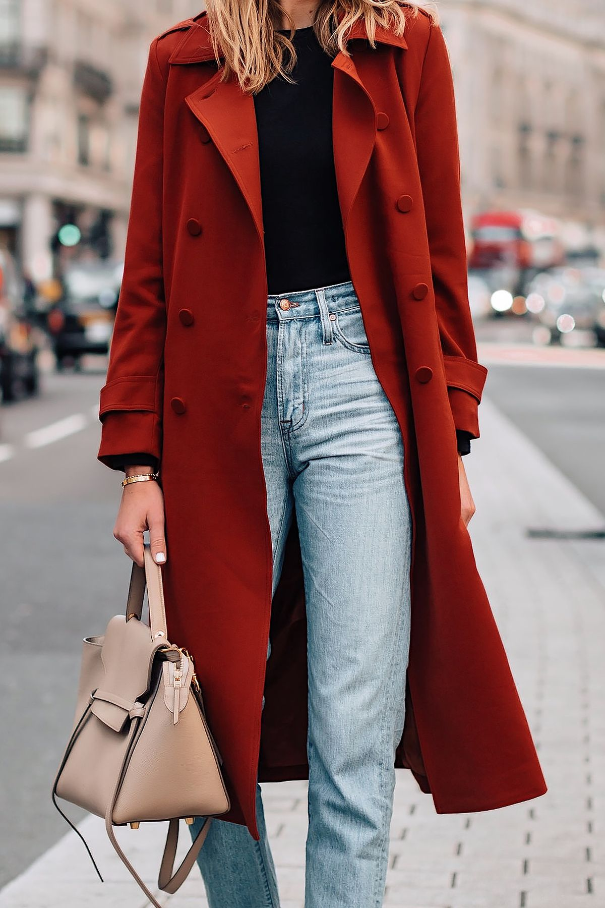 58efe2ef5b63 Woman Wearing Red Trench Coat Black Top Jeans Outfit Fashion Jackson San  Diego Fashion Blogger London Street Style