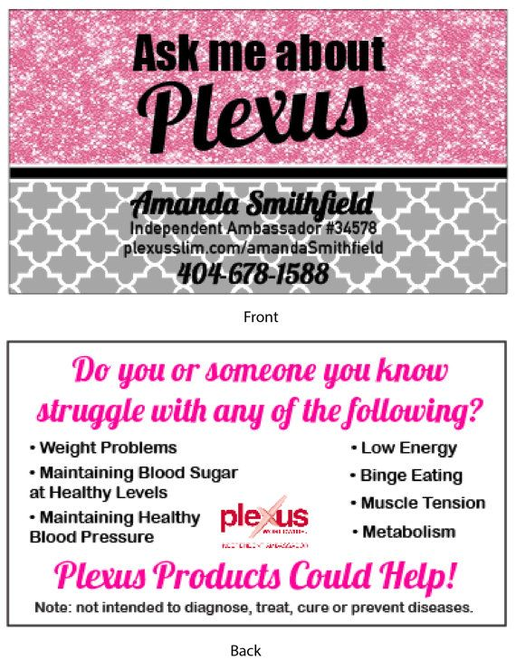 Pink Glitter Plexus Business Cards By AskMeAboutPlexusSwag