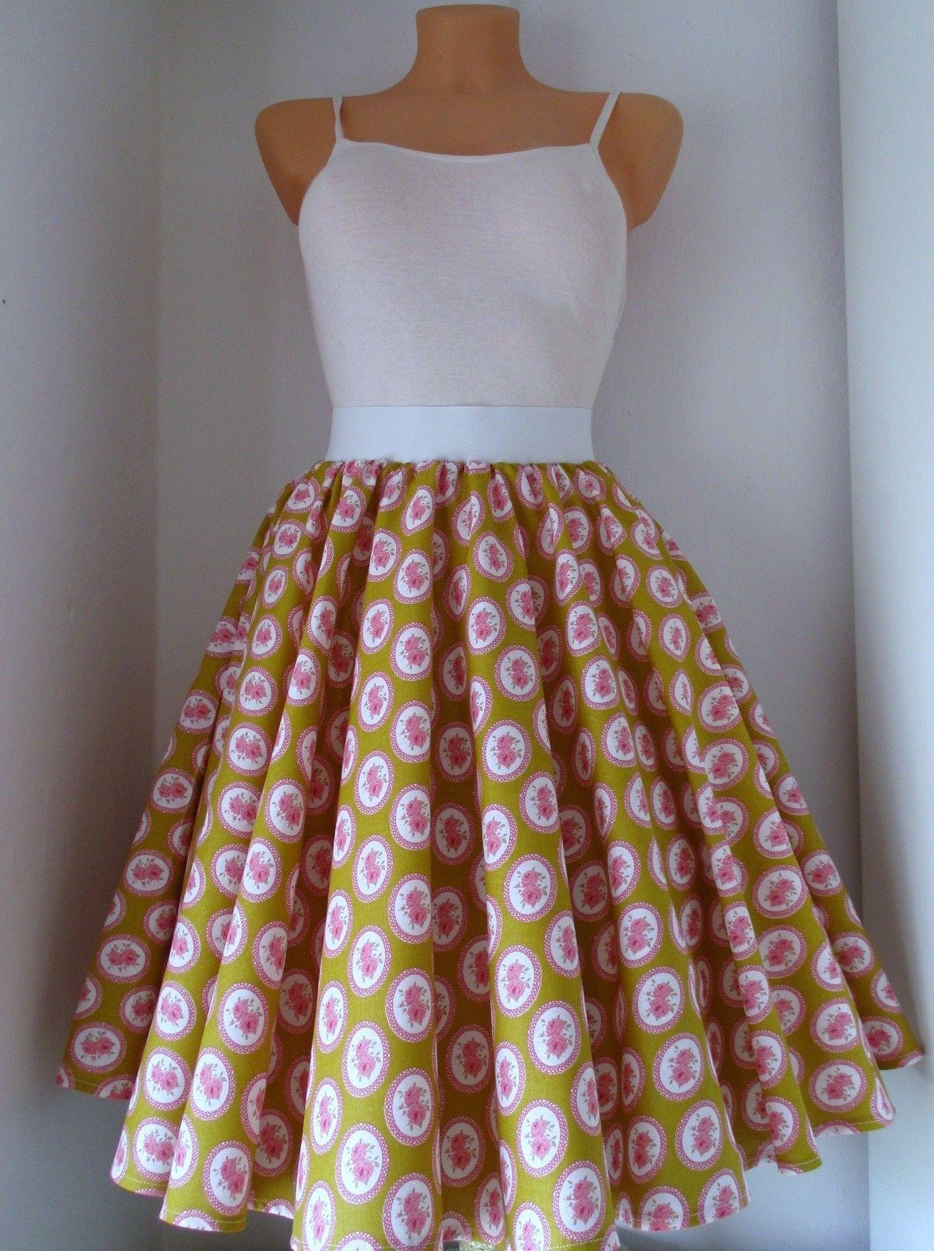 bb328362164c kolová+sukně+Retro+kolová+sukně+z+kvalitní+pevné+bavlny.+V+pase+na+ ...