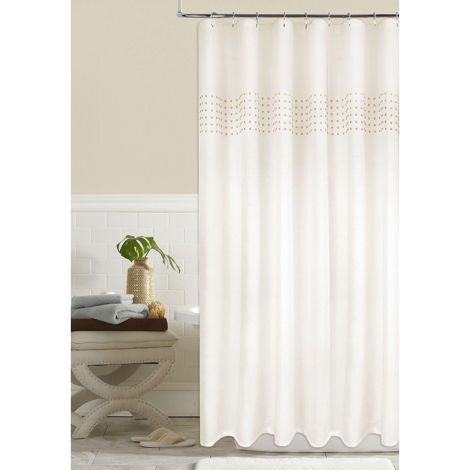 Nailhead Ivory Shower Curtain Curtains Home Home Decor
