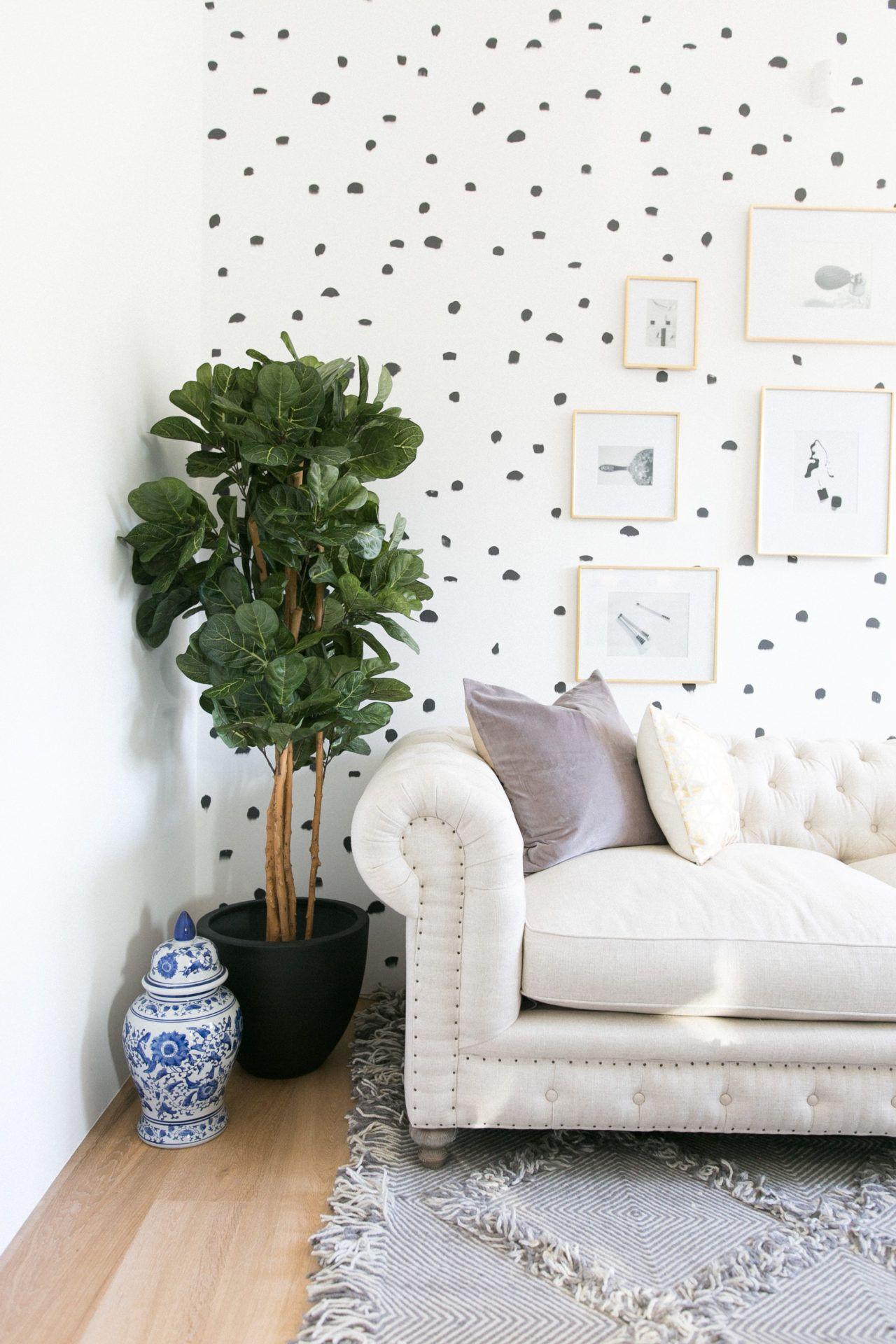 Diy Brush Stroke Inspired Polka Dot Wall Living Room Diy Polka Dot Walls Home Decor