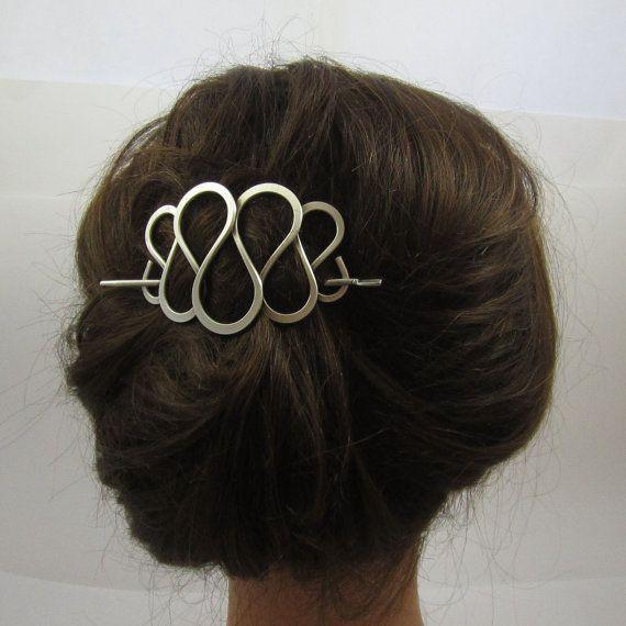 Silver Stick Barrette Curly Wire Design Hair Sticks Hair Etsy Hair Jewelry Hair Sticks Hair Barrettes