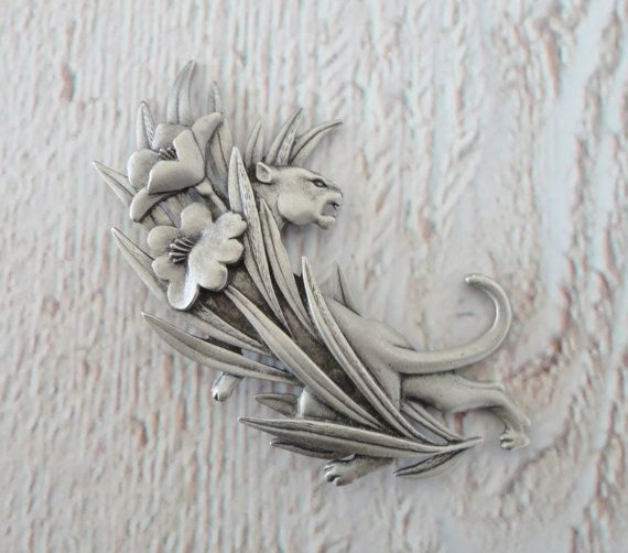 "/""JJ/"" Jonette Jewelry Silver Pewter /'Pink FLAMINGO/' Pin ~ Florida"