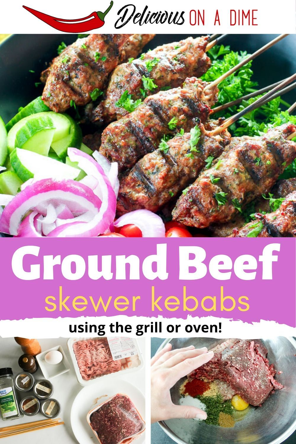 Ground Beef Kebabs Grill Or Oven Recipe In 2020 Kebabs On The Grill Beef Kebabs Kebab Recipes Beef