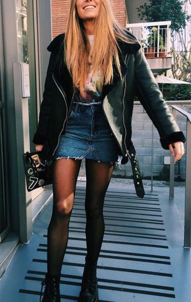 Denim skirt winter fashion 20