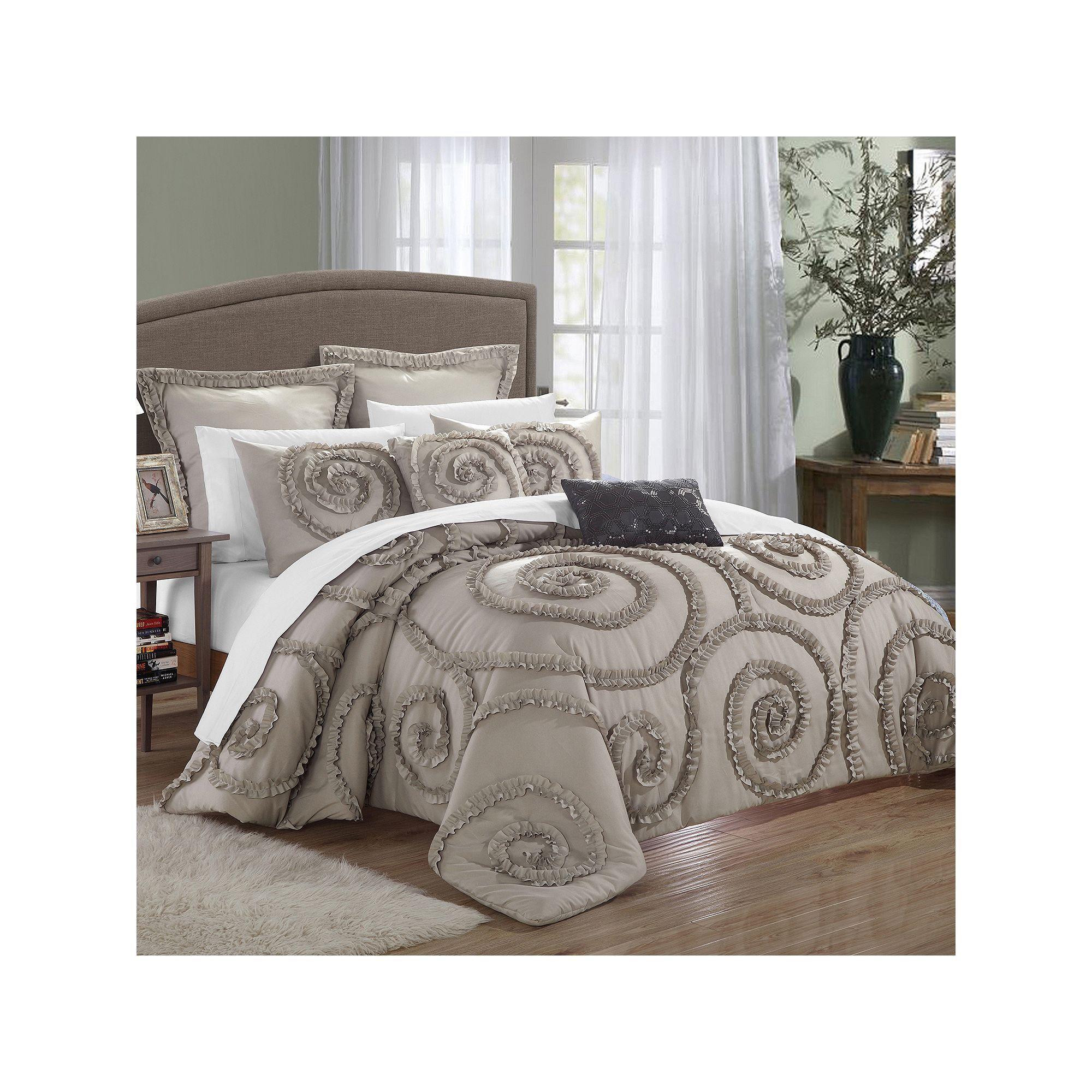Rosalia 11 Pc Bed Set Taupe Comforter Comforter Sets Grey Comforter