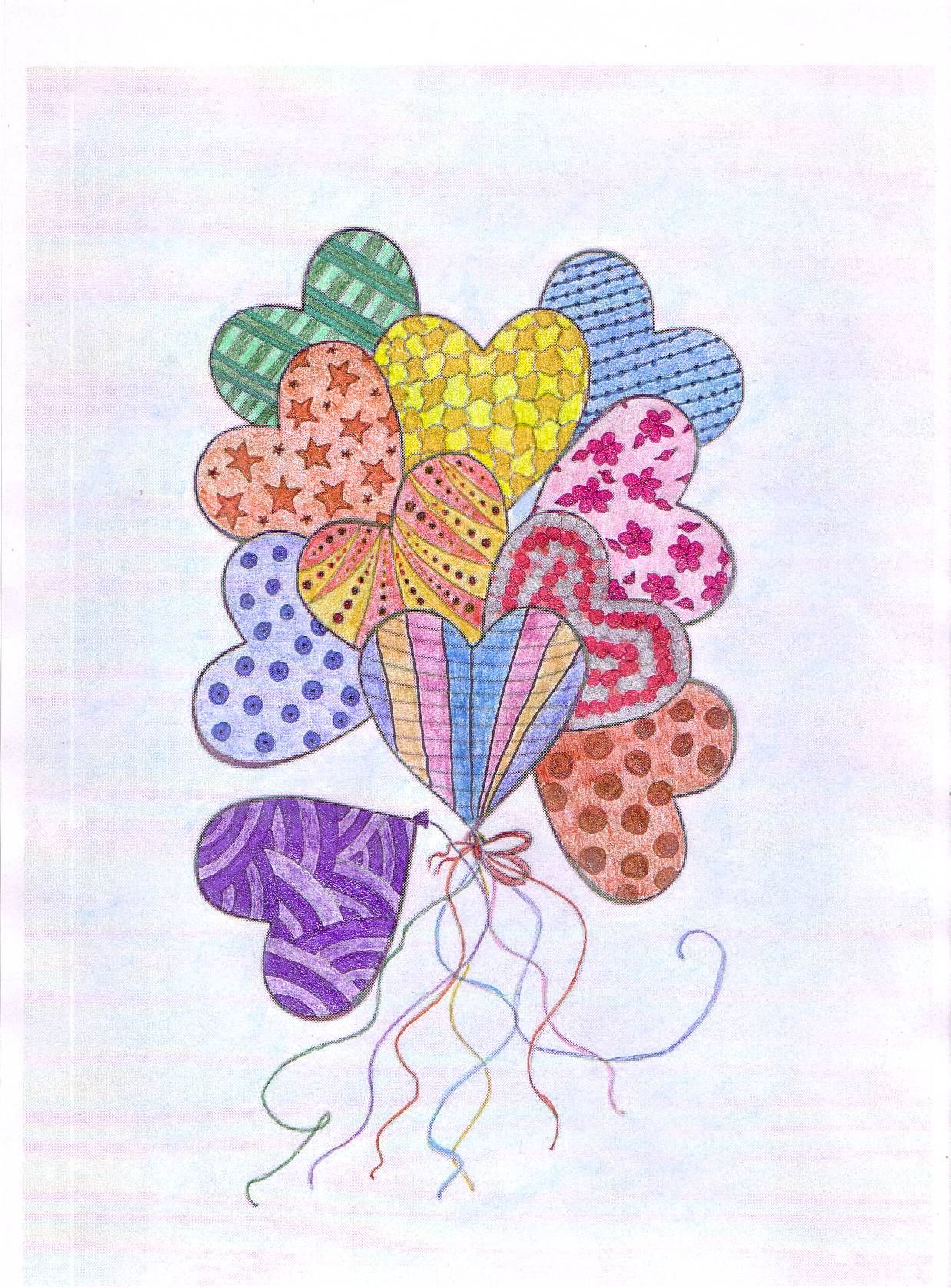 Finished: 21. 11. 2015; Source: Internet; Medium: glitter gel pens, Progresso, hard pastel Toison d'Or; FB challenge no. 13/2 - to colour a picture with heart(s)