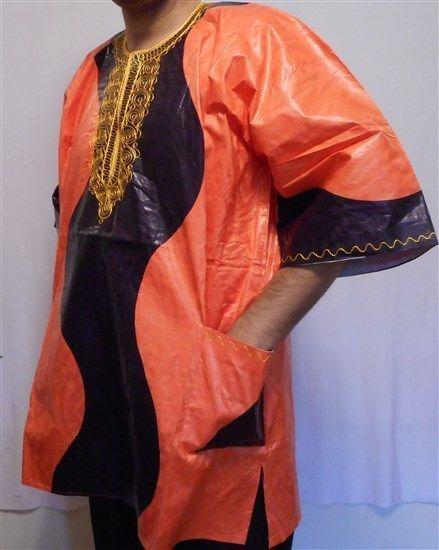 """African Brocade Blouse T Shirt Boho Men Dashiki Top Vintage Free Size 54/"""" around"""