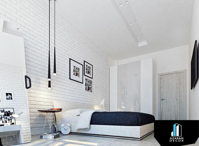 دیوارپوش آجری یک نام و یک دنیا سلیقه همراه با قیمت ارزان آذران دکور White Bedroom Modern Exposed Brick Walls White Brick Walls