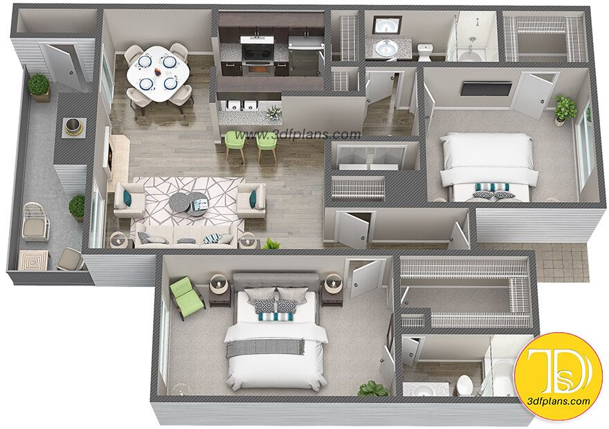 3d Floor Plans For Apartment Community In Houston Tx Small Apartment Floor Plans Penthouse Apartment Floor Plan Small Apartment Layout
