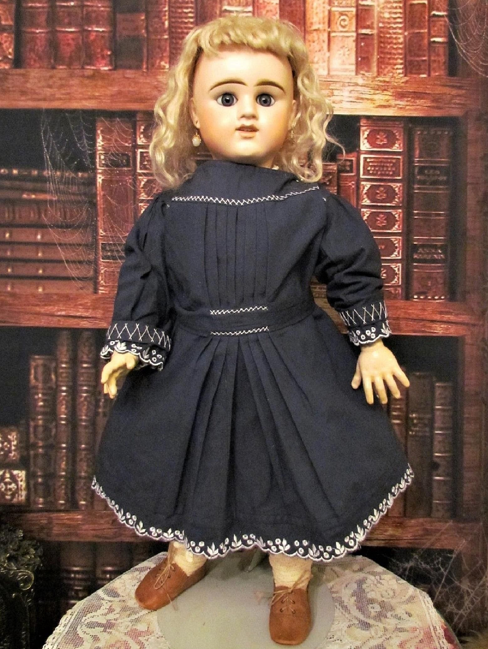 Vintage Navy Blue Cotton Doll Dress with Embroidery details Fits 24