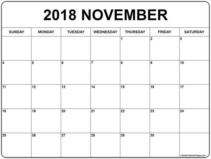 November 2018 Calendar Free Printable Calendar Free Printable