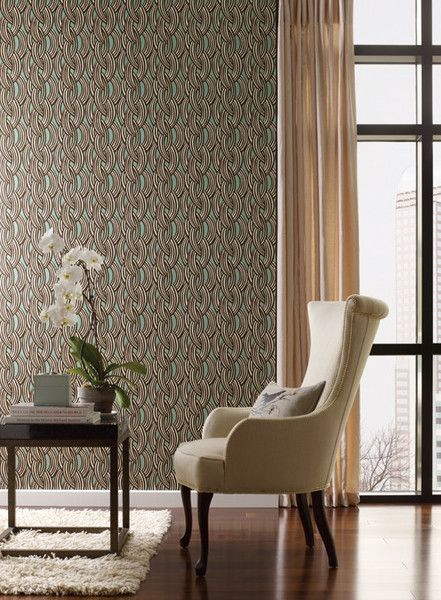 Abstract designs wallpaper in browns ivory and green by antonina vella for seabrook also rh pinterest