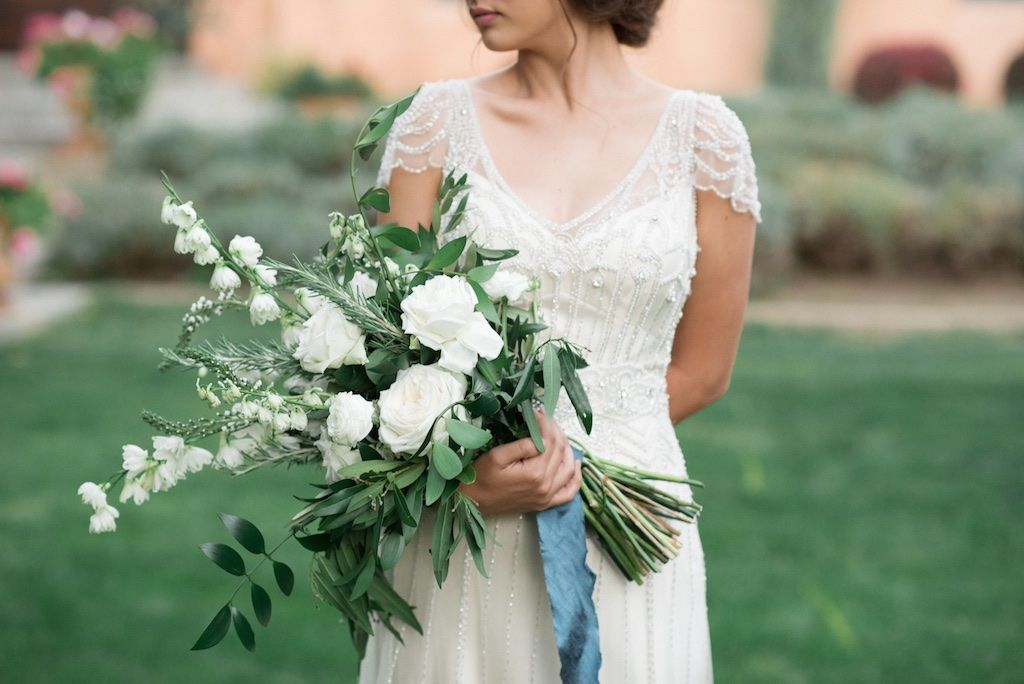 romantic ivory and green tuscan wedding flowers, white and green cradle style bouquet, www.calierose.com wedding flowers utah calie rose