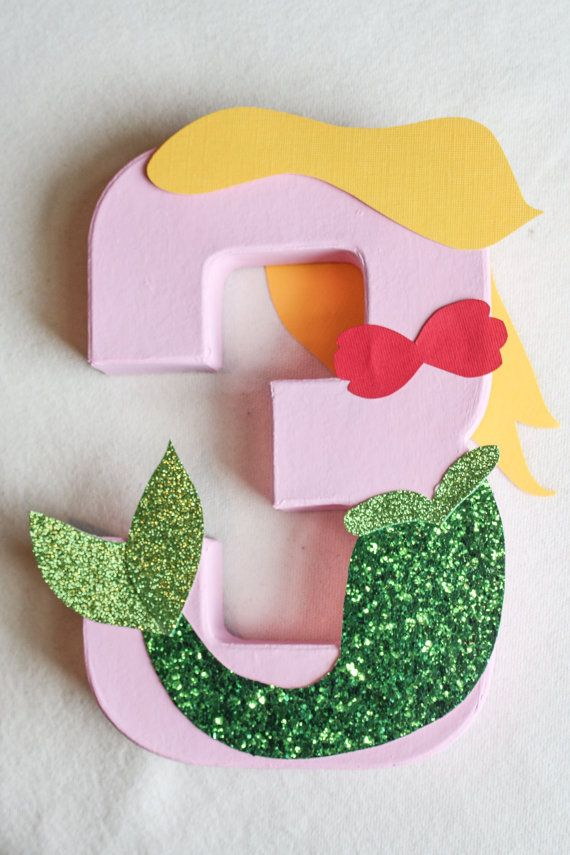 Mermaid Party Decoration - Little Mermaid Under The Sea Themed Letter or Number Centerpiece