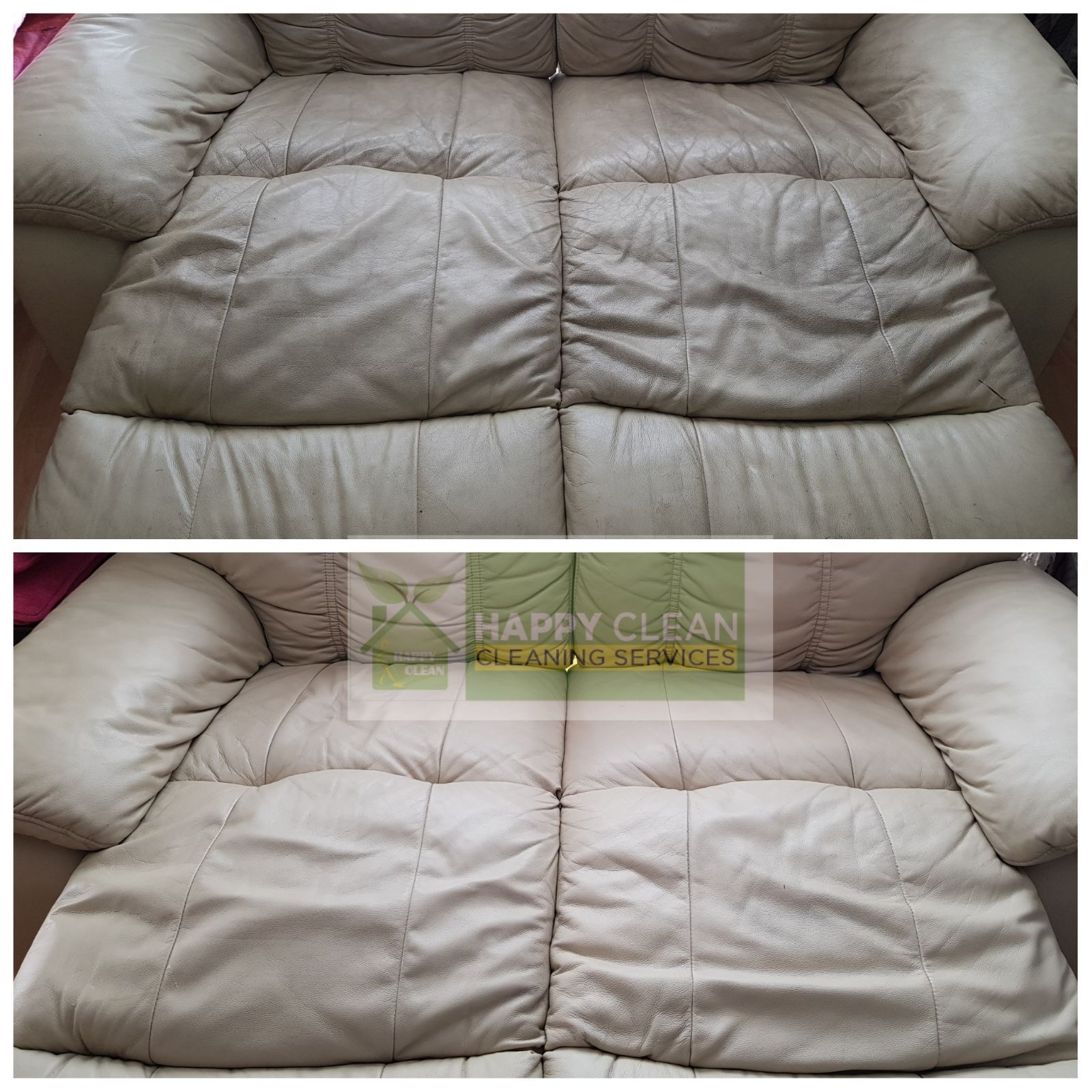 Cream Leather Sofa Cleaned By Hy
