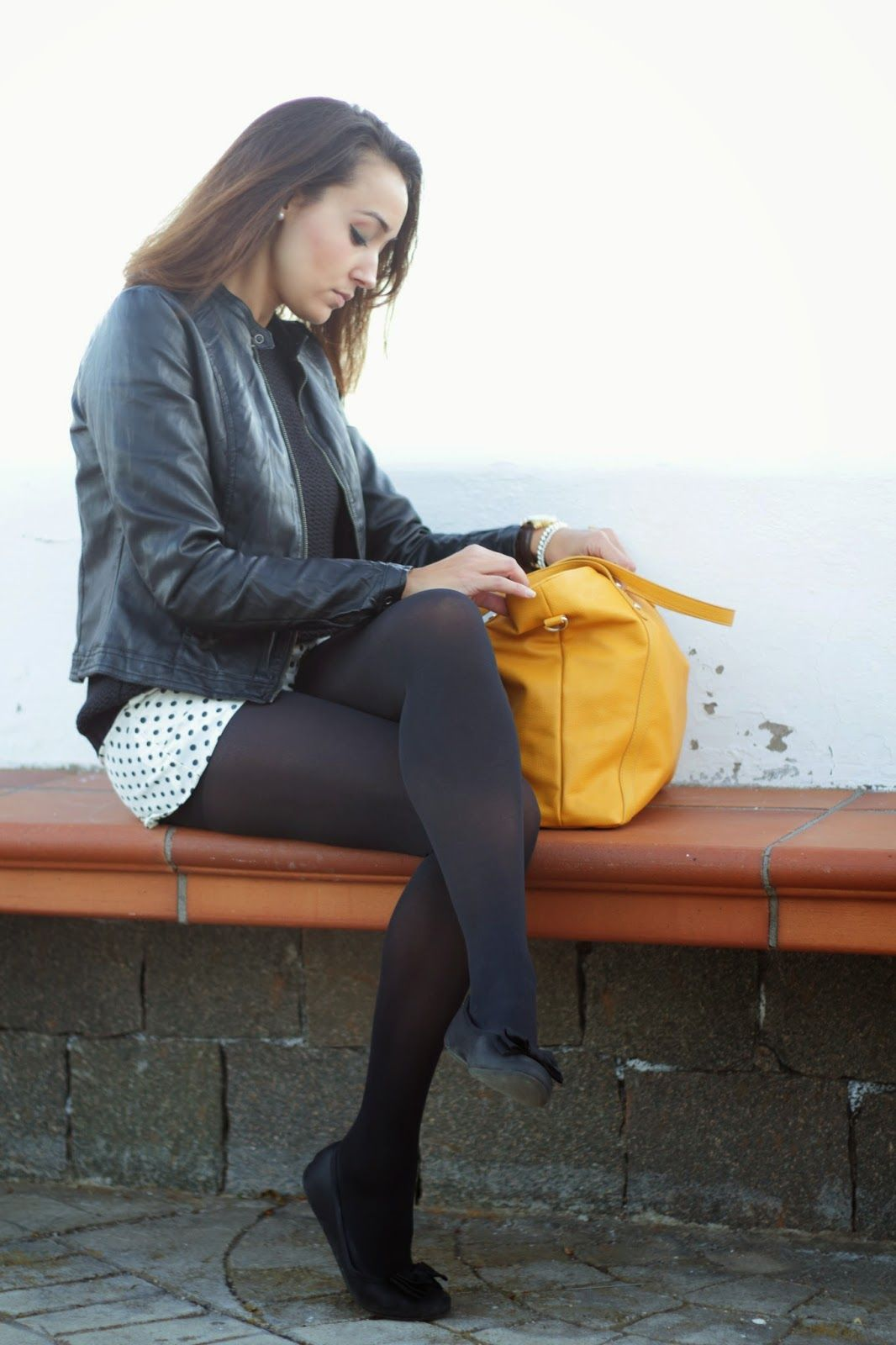 Flats Tease | Fashion, Black opaque tights, Tights