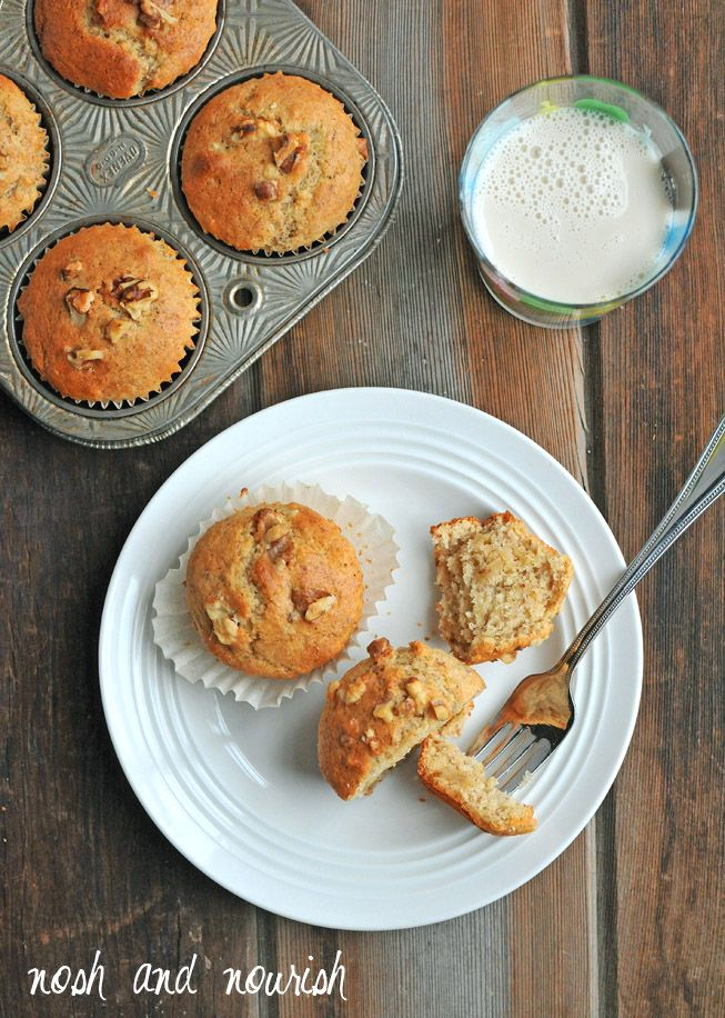 Banana Nut Muffins that happen to be #vegan...and AMAZING!!  (Fluffy, moist, easy-to-make & satisfying!)