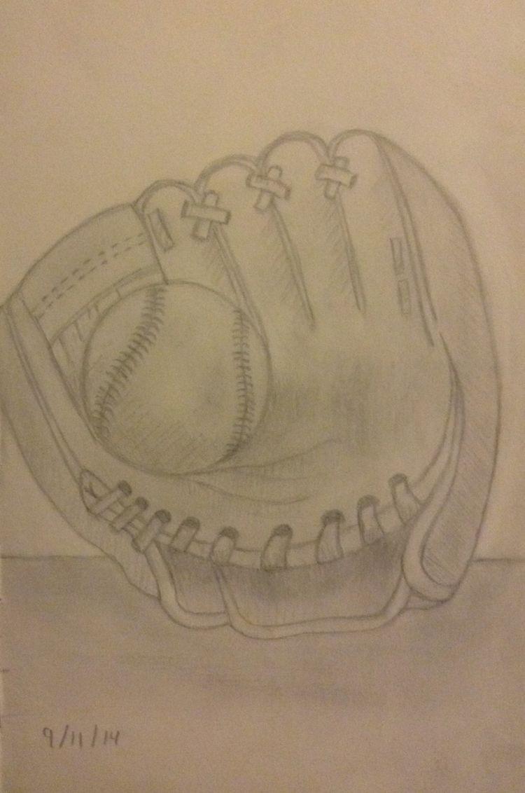Pin By L On Sketches Baseball Drawings Baseball Painting Baseball Glove