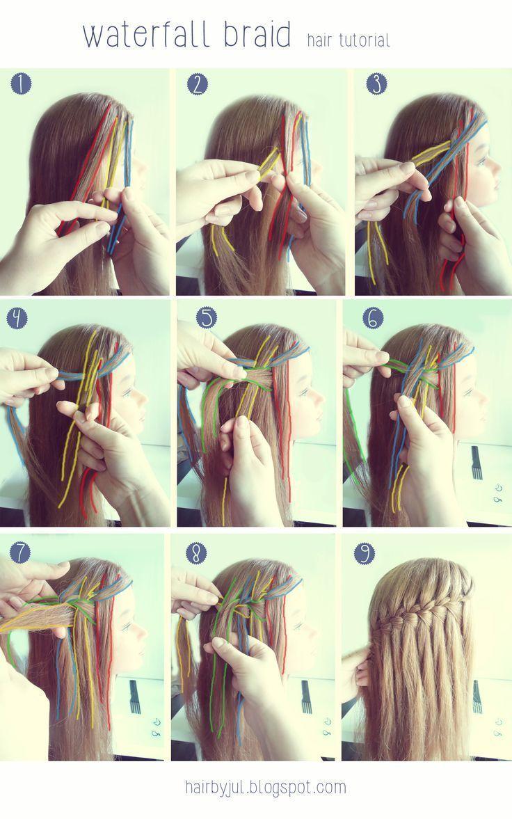 Waterfall Pigtail Hair Tutorial Waterfall Braid Tutorial Braid Hair Pigtail Tutorial Wate Hair Styles Elegant Hairstyles Braided Hairstyles Tutorials