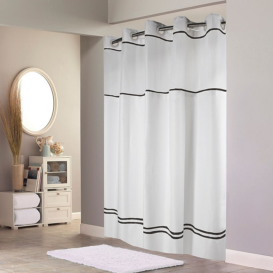 Hookless Monterey Shower Curtain In White Black Products In 2019
